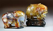 Pr. Chinese Qing Carved Agate Elephants