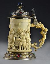 A Fine German or Austrian Carved Ivory Tankard