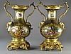 Pr. Russian Imperial Porcelain & Bronze Mounted Vases