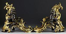 Fine Pr. Louis XV Style Gilt & Patinated Bronze Chenets