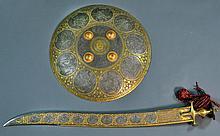 A Fine Indo-Persian Sword and Dahl Cuff Guard Shield