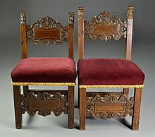 Near Pair 17th Century Italian Renaissance Side Chairs