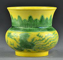 A Chinese Yellow & Green Porcelain Vase