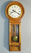 Impressive American Oak Waterbury Tall Case Clock