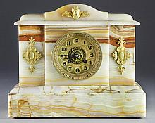 A 19th C. French Alabaster Mantle Clock