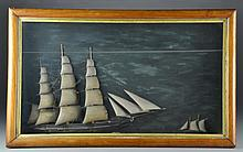19th C. Carved and Painted Sailing Ship Shadowbox