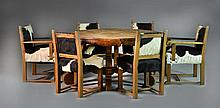(7)Pc.19th C. Rustic Pine & Cow Hide Dining Set