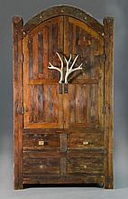 Impressive Rustic Pine and Horn Armoire