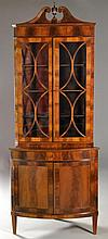 Antique Georgian Style Flamed Mahogany Corner Cabinet