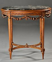 A French Carved Walnut & Marble Table