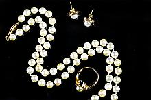 (4) Pc 14K Gold & Pearl Jewelry Suite