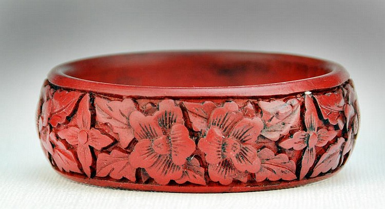 Chinese Cinnabar Bangle Bracelet