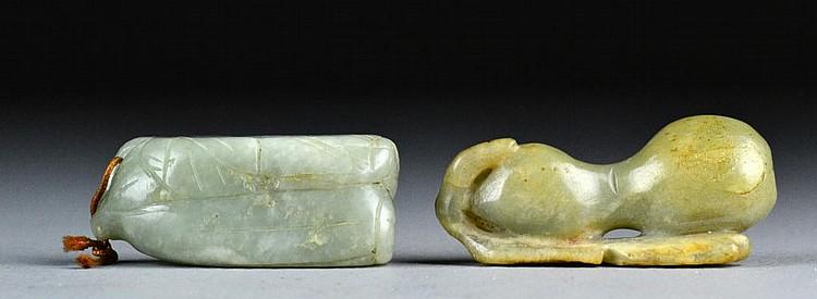 (2) Chinese Qing Celedon Nephrite Pendants