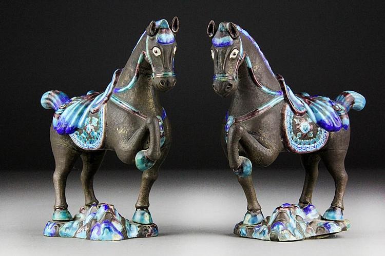 Pr. Chinese Metal & Enamel Horses