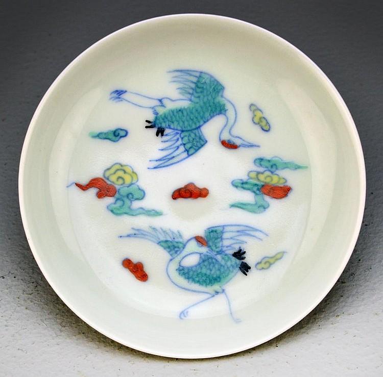 Chinese Doucai Porcelain Saucer