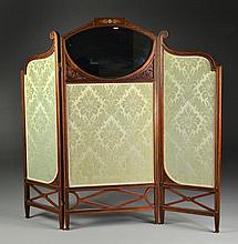 Antique Empire Gilt Bronze & Mahogany Three Panel Screen