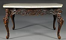 A French Walnut Figural Marble Top Coffee Table