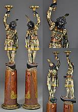 Pr. Blackamoor Carved & Painted Pedestals