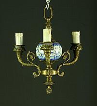 A Delft Porcelain & Brass Hanging Chandelier