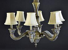 Six Arm Crackle Finish Chandelier