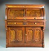 Antique Burlwood & Walnut Eastlake Roll Top Desk