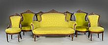 (7) Pc. Eastlake Settee & Six Carved Chairs