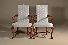 Pr. Hickory Chair Co. Mahogany Arm Chairs