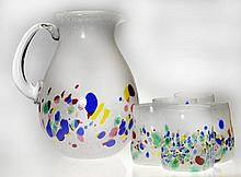 (6) Piece B. Mc Kinney Art Glass Lemonade Set