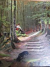 Vondeling 'Rustpunt in het bos' schilderij op doek, ges. 55x46cm
