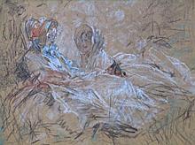 Antoine Calbet (1860-1944) 'Dames in boudoir' krijttekening, ges. 22x32cm