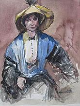 Louis van der Pol (1896-1982) ' Vrouw met gele hoed' aquarel, ges. 34x27cm