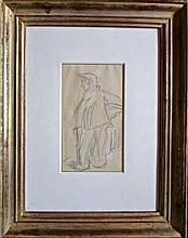 Kees van Dongen (1877-1968) 'Silhouet van een man' potloodtekening op geruit papier, 15x9cm (met certificaat van echtheid)