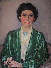 Jan Sluijters (1881-1957)  ' Dame in groene jas' schilderij op doek, ges. 74x52cm