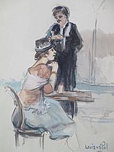 Louis van der Pol (1896-1982) 'Vrouw op terras met ober' aquarel, ges. 37x26cm