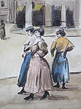 Louis van der Pol (Kelderman) (1896-1982) 'Drie dames op straat'  ges. 32x27cm