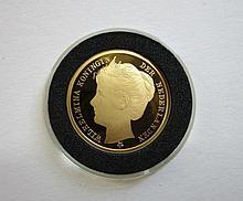 Gouden replica van de inhuldigingspenning 1898 Wilhelmina585/1000, 3.50gr