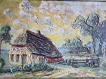 G.B. Olislagers (1894)  'Boerderij' olie op doek, ges. 27x40cm