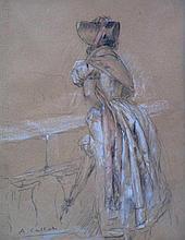 Antoine Calbet (1860-1944) 'Dame op balkon' krijttekening, ges. 32x24cm
