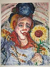 Louis van der Pol (Kelderman) (1896-1982) ' Dame met hoed' aquarel, ges. 34x23cm
