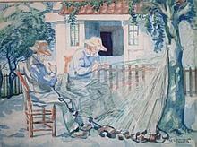 Max Nauta (1896-1957) 'Nettenboeters' aquarel, ges. 39x50cm