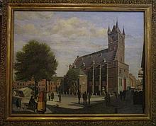 Anna Vondeling 'Belfort te Sluis' schilderij op paneel, 85x110cm