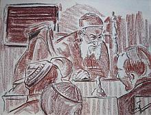 Fernand Cornet 'Gesprek met de Rabbijn' krijttekening, ges. 40x50cm