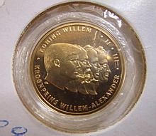 Gouden penning van Willem Alexander en zijn 3 voorzaten, 4,75gr - proof - 585/1000