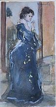 Louis van der Pol (1896-1982) 'Vrouw voor de spiegel' aquarel, 39x20cm