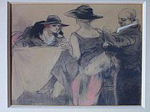 Piet van der Hem  (1885-1961) 'In het cafe' gemengde technieken, ges. 31x38cm