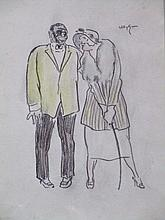 Willy Sluiter (1873-1949)  'Afspraakje' krijttekening, ges. 30x22cm
