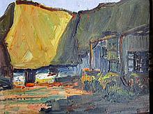 Roger Reyniers(1927-2014) 'Op het hof' doek op paneel, ges. 23x29cm