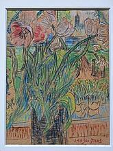 Jan Sluijters (1881-1957)  'Tulpen' gemengde techniek, ges. 31x23cm