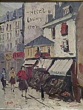 Ges. J. KELDERMAN (1914-1990) 'Straatscene te Parijs' schilderij op doek,  50x40cm