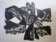 Lithografie 'Abstract', onduidelijke signatuur, 50x65cm